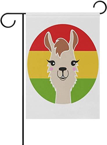 N/A Tuinvlag Grappige Llama met Rood Geel Groene Vlag Polyester Dubbelzijdige Huis Vlag Vakantie Decoratie voor Yard Home Outdoor Decor 12 X 18 Inch 28 x 40 in 1 kleur