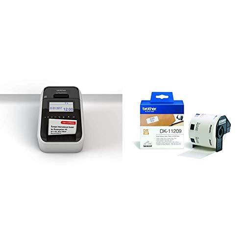 Brother QL-820NWB Netzwerk-Etikettendrucker (mit Rot-Schwarz-Druckfunktion) & DK-11209 Adressetiketten (62 x 29 mm, 800 Stück/Rolle, für Brother QL-Etikettendrucker) weiß