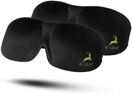 B LEAF Sleep Mask 2 Piece 3D Contoured Sleeping Masks with Elastic Strap Soft Lightweight Blackout product image