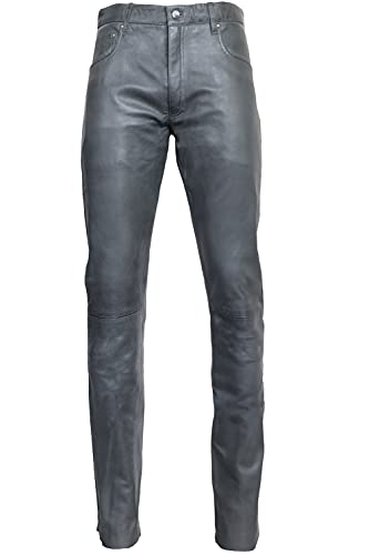 RICANO Slim Fit, Herren Lederhose in 5-Pocket Jeans Optik aus echtem Lamm Nappa Leder (Glattleder) (Schwarz, Grau, Cognac Braun) (Grau, 31)
