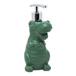 4. Isaac Jacobs Green Ceramic Dinosaur Pump Soap Dispenser