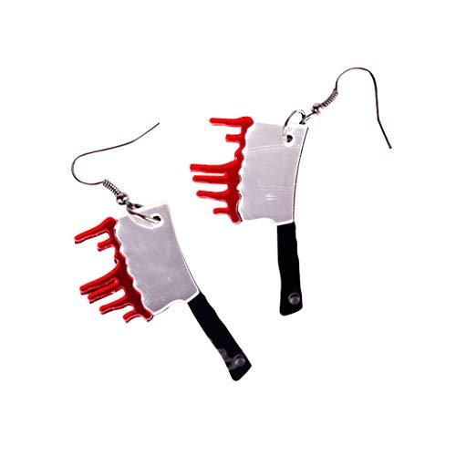 Cutie Jewelry Ohrringe mit Axt-Motiv, Halloween-Messer, Metzger-Schmuck, blutiges Blut, baumelnde Ohrringe