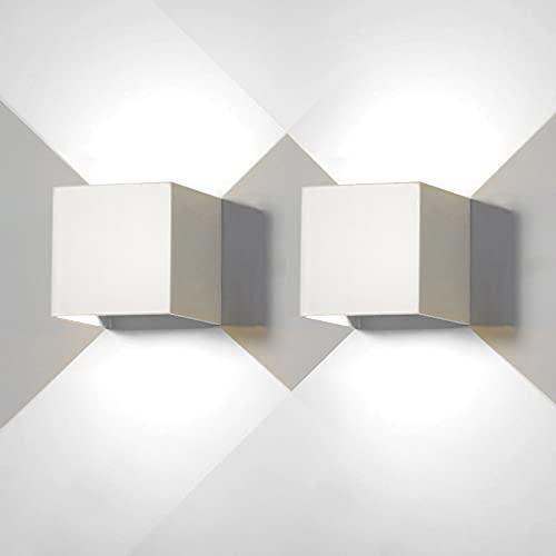 2 lámparas LED de pared de 12 W de color blancopara LED blanca fría 6500K interiores y exteriores IP65 impermeable de pared cuadrada de aluminio luz ajustable y de diseño fácil de instalar