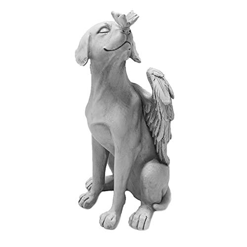 LTXDJ Estatua de decoración de jardín, diseño de perro de resina de ángel 3D, decoración de pared es adecuada para sala de estar dormitorio oficina terraza césped porche