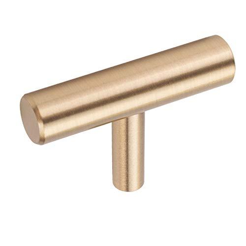 10 Pezzi Pomelli per Mobili Ottone Maniglie per Mobili da Cucina Oro Esagono 5cm (lunghezza) x 3.5cm (altezza)