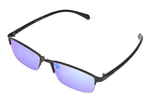 STBJ Color Blind Glasses for Men and Women with Red-Green Blindness, Color Vision Disorder, Color Weakness, Purple Blue Lens,Halfframe