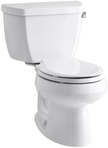 Kohler K-3577-RA-0 Wellworth Classic 1.28gpf Round-Front Toilet with Class Five Flushing Technology and Right-Hand Trip Lever, White, 12 Inch