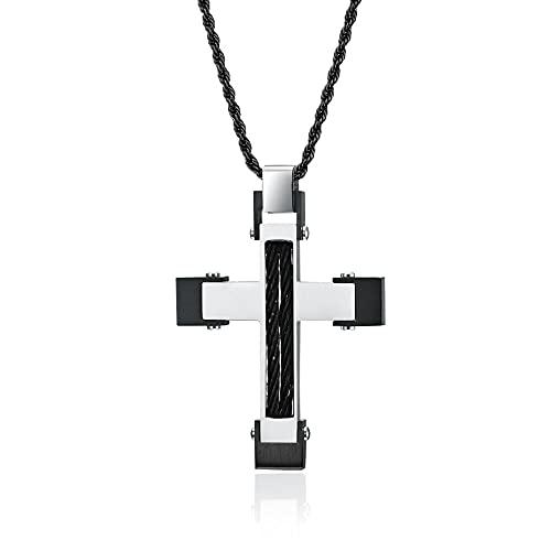 maozuzyy Collar Colgante Joyería Colgantes Originales De Cuerda De Alambre para Hombres con Cruz De Acero Inoxidable Y Montaje En Dos Colores, Color Negro