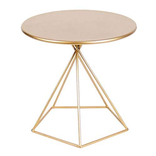 CSQ Metall Beistelltisch, Goldener Single Layer Rostschutz Sofa Tabelle Heim Balkon Terrasse Freizeit Teetisch Cafe Esstisch Größe: 55 * 50CM (Color : Gold, Size : 55 * 50cm)