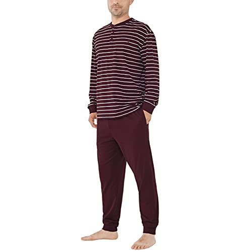 El Búho Nocturno - Pijama Hombre Largo Tapeta Punto Rayas Granate 100% algodón Talla 4 (L)