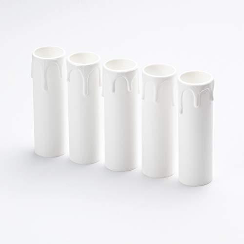 Kerzenhülse weiß mit Tropfen 5 Stück Kunststoff Kerzenhülsen Lampenfassung für Kristall Kronleuchter LED Kerzen Kronleuchte Wandleuchte Hängelampe