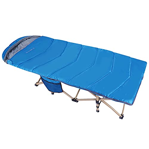 REDCAMP Extra Long Kids Cot with Sleeping Bag for Sleeping 5-10, Sturdy Portable Folding Toddler Cot Bed for Boys Girls Camping Travel, Blue 53x29