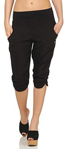 Malito Damen Hose aus Leinen | Stoffhose in Uni Farben | Freizeithose mit Knöpfen | Chino - Capri - Strandhose 7988 (schwarz, XL)
