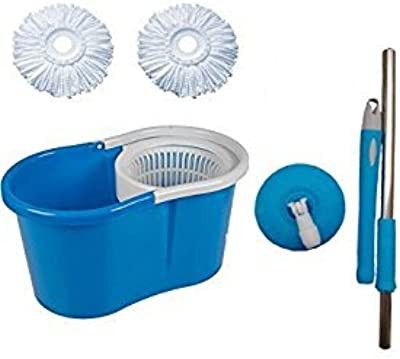 Kitchen India™ Magic Dry Bucket Mop - 360 Degree with Free 2Pcs Microfiber Self Spin Mop Set (Multicolor)