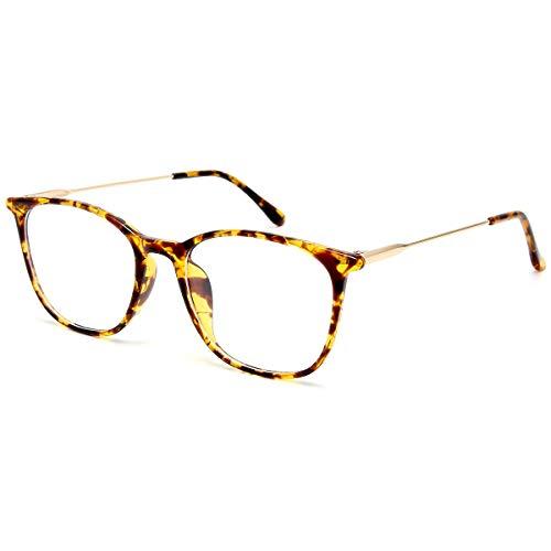 Gaoye Blue Light Blocking Glasses Women Men, Computer Gaming Eye-glasses Anti UV Nerd Fashion Square Fake Eyewear Frames (Leopard Frame/Gold Temples)