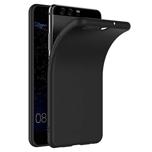 COPHONE Funda Negro Huawei P10, Negro Silicona Fundas para Huawei P10 Carcasa Negro Funda Case Huawei P10 Flexible Ultra Delgado