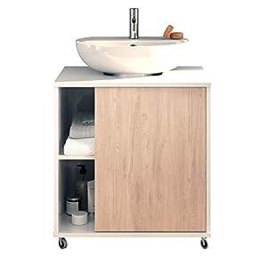 Pitarch Mueble baño Lavabo Pedestal Saina lavamanos pie Blanco Brillo y Roble 1 Puerta 59×45