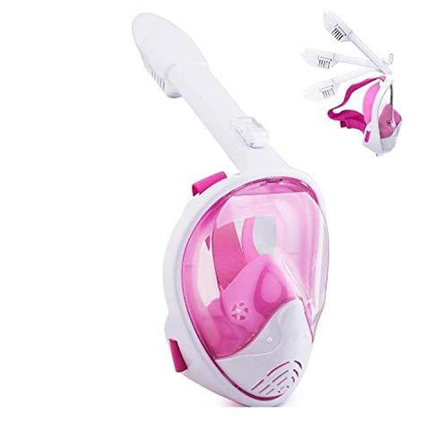 FLHLH máscara de Buceo decatlón,Máscara de Buceo Anti-vaho de Silicona Completamente Seca, Impermeable, con Lentes de cámara HD, Polvo + Blanco C_L / XL