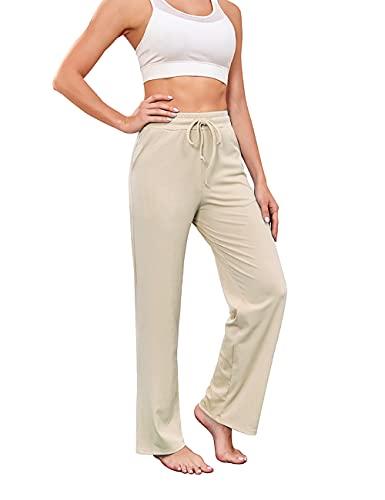 Nekosi Damen Yoga Hose mit weitem Bein Kordelzug Lockere Trainings Jogger Jogginghose mit Taschen BEIGE S
