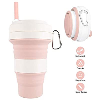 Silicone Collapsible Travel Cup with Lids, Fold...