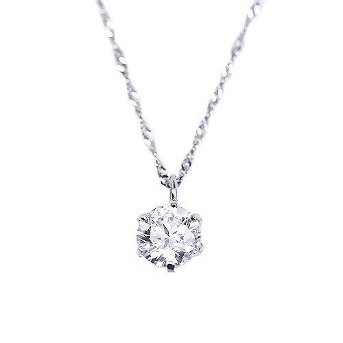 【KASHIMA】純プラチナ台 0.35ct ダイヤモンド 一粒石 プチ ペンダント ネックレス