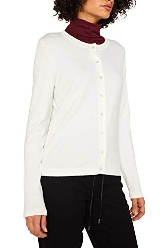 ESPRIT Collection Damen 999EO1I800 Strickjacke, Weiß (Off White 110), Large (Herstellergröße: L)