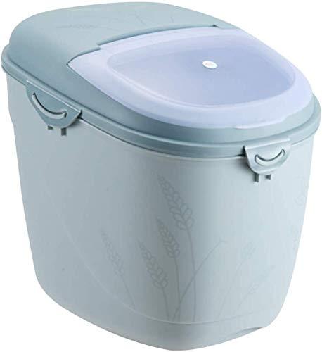 ACCDUER Contenedor de arroz, 15 kg, contenedor de arroz, contenedor de arroz, contenedor de almacenamiento de granos, contenedor de arroz con tapa, almacenamiento de cocina y organización (color azul)
