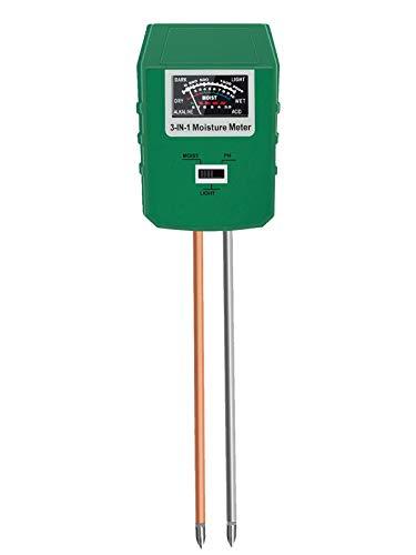 Viixm Soil pH Meter, 3-in-1 Soil Tester Kit with Moisture, Light and PH Test, Gardening Tool for Plant Care Soil Tester Great for Garden, Lawn, Farm, Indoor & Outdoor