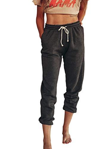 Eytino Pantalón deportivo casual con cordón elástico en la cintura para entrenamiento, yoga, con bolsillos, S-XL - negro - X-Large