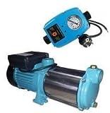 Tazado INOX Profi Gartenpumpe Kreiselpumpe 2200 Watt 230V Fördermenge: 160 l/min 9600 l/h, 5 Laufräder 5,8 bar - robuste und rostfreie Edelstahlwelle + integrierter thermischer Motorschutzschalter.