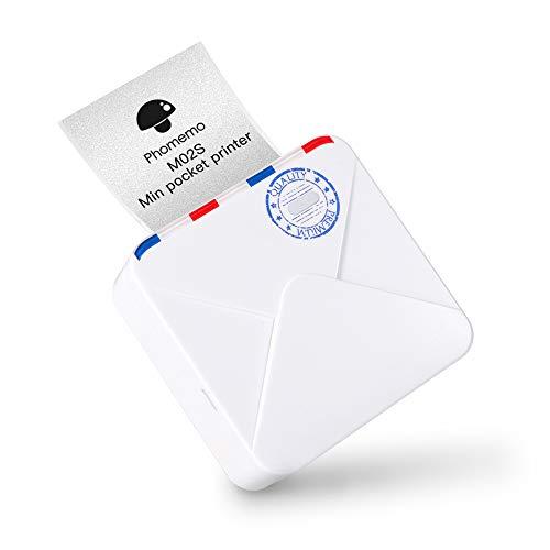Phomemo M02S Minidrucker Taschenfotodrucker Bluetooth Thermodrucker, tragbares 300dpi HD Drucksystem mit 3 Druckgrößen, für Journal, Reisen, Fotodruck, Studie