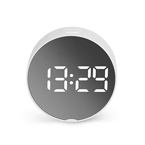 Ronde Led Spiegel Alarm Klok Digitale Nachtlampje Snooze Met Temperatuur Elektronische Despertador Tafelklok