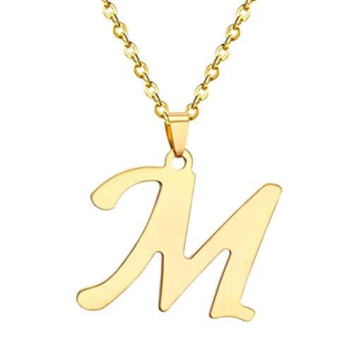 Collares de 26 Letras de Acero Inoxidable, Gargantilla de Color Dorado y Plateado, Collar con Colgante Inicial, joyería de Cadenas de Alfabeto para Mujer