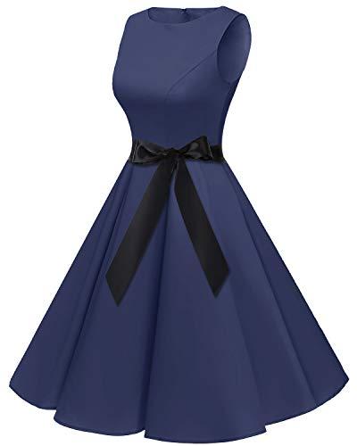 bbonlinedress 50s Retro Schwingen Vintage Rockabilly Kleid Faltenrock Navy - 3