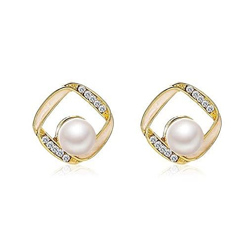 DFDLNL Polsini dell'orecchio per Le Donne Orecchini Geometrici con Perle di Strass Rotonde a Forma di Fiore per Le Donne Orecchino Brillante con Cuore3215