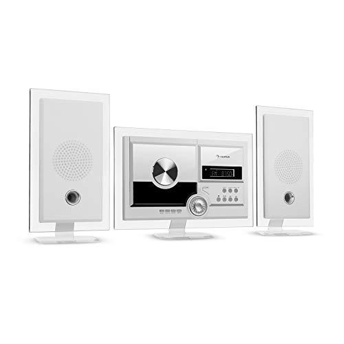 auna Stereo Sonic Dab+ - Equipo estéreo, sintonizador de Radio Dab+, Posibilidad de Montaje en una Pared, Bluetooth, PuertoUSB, Reproductor de CD, Entrada AUX, Mando a Distancia, Blanco