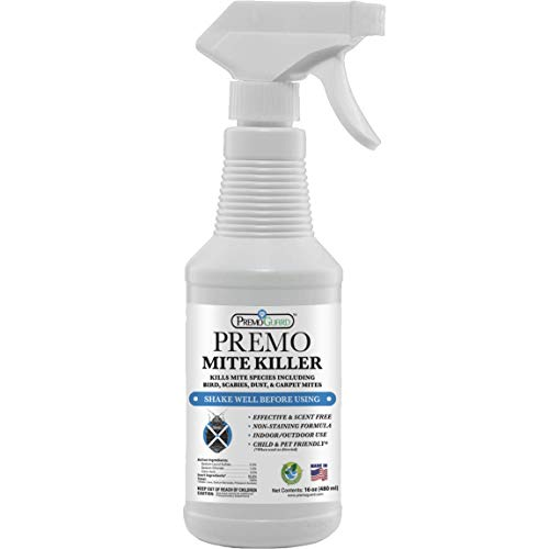 Mite Killer Spray by Premo Guard 16 oz – Treatment for Dust Spider Bird Chicken Rat Mouse Carpet and Scabies Mites – Fast Acting 100% Effective – Child & Pet Safe – Best Natural Extended Protection