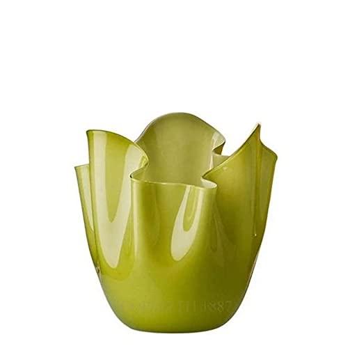 Venini Fazzoletti Bicolore Vaso medio rosso verde mela di Fulvio Bianconi 70002