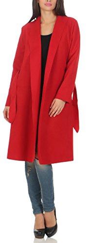 malito Donna lungo Cappotti Cascata-Design Cardigan Basic 3050 (rosso)
