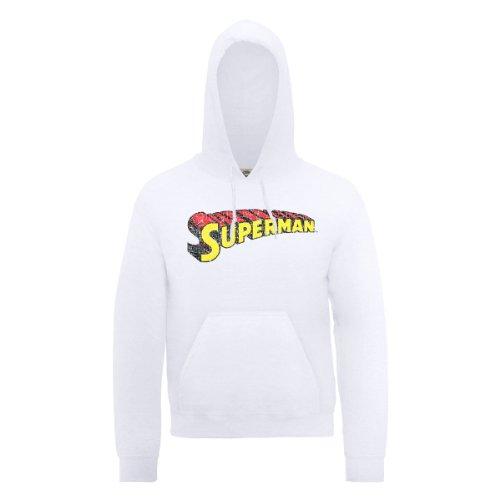 Dc comics DC0000201 Official Superman Telescopic Logo Crackle Sweat-Shirt à Capuche, Blanc, M Homme