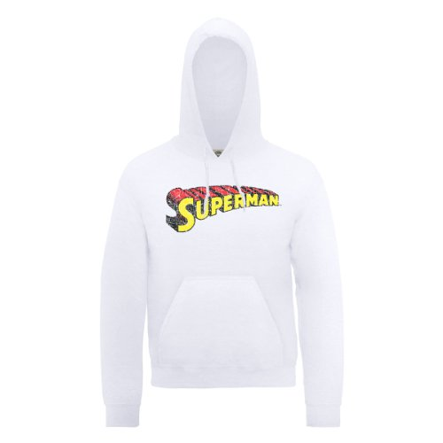 DC Comic DC0000201 Official Superman Telescopic Logo Crackle Sweat-Shirt à Capuche, Blanc, M Homme