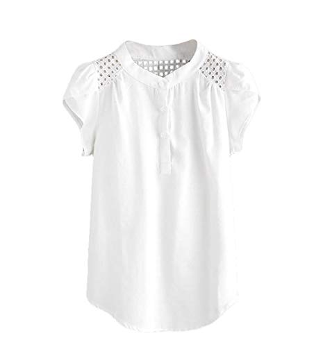 Putars Mujeres O-Cuello sólido Ahueca hacia Fuera la Camiseta Manga Corta de Mariposa Tops Blusa