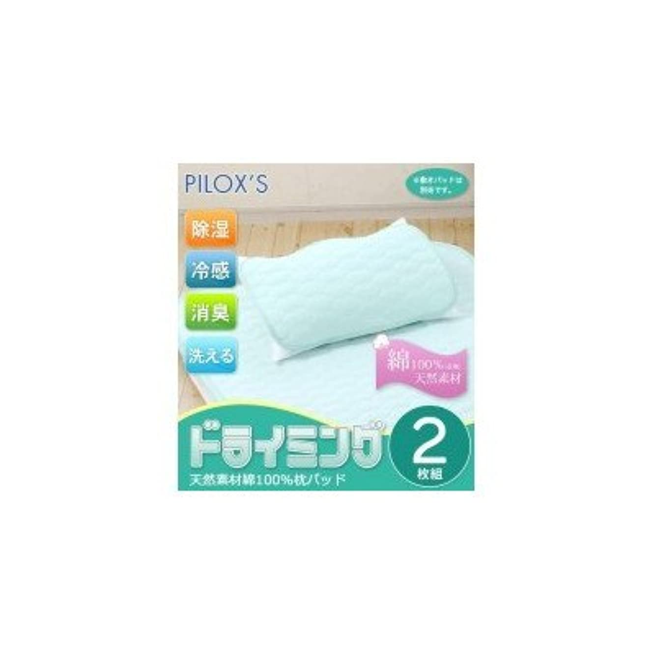 鯨パノラマゴール篠原化学 PILOX'S ドライミング 洗える 除湿&消臭&冷感 天然素材綿100%枕パッド 2枚組 DRYC-P4060-GN