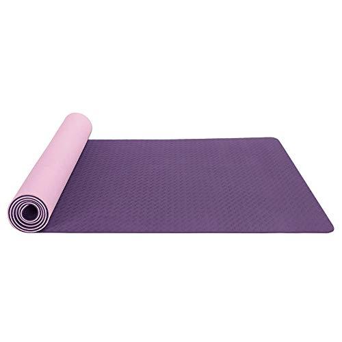 BAWAQAF Esterilla de yoga, 6 mm antideslizante TPE Sports Gym Mat, Fitness Gymnastics Camping Pad Home Travel Fitness Mat