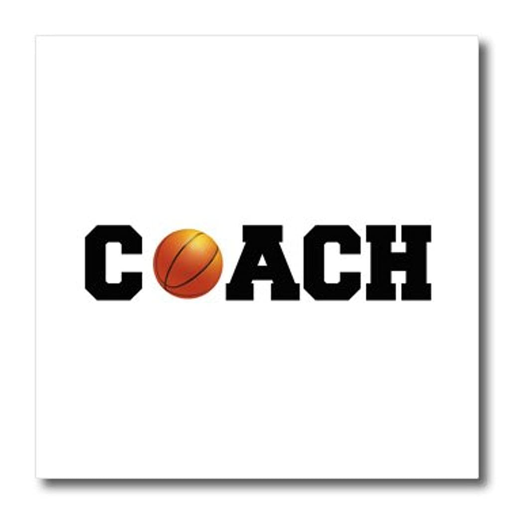 3dRose Coach, Black Letters with Basketball on White Background-Iron on Heat Transfer, 8 by 8