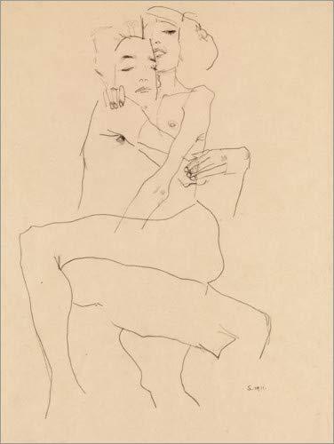 Poster 30 x 40 cm: Paar umarmt von Egon Schiele - hochwertiger Kunstdruck, neues Kunstposter