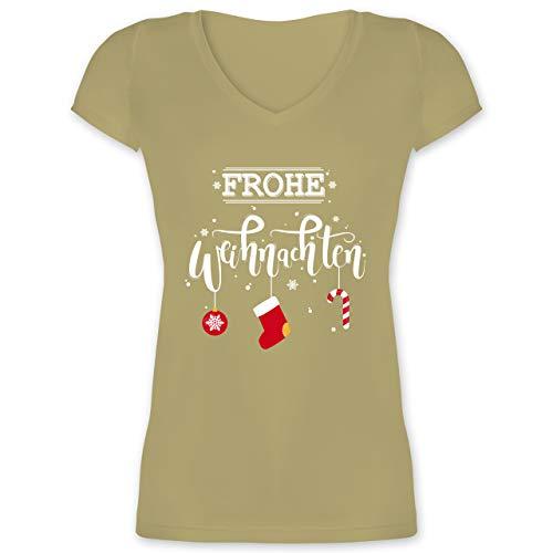 Weihnachten & Silvester - Frohe Weihnachten Lettering - XXL - Olivgrün - Frauen Weihnachten Tshirt - XO1525 - Damen T-Shirt mit V-Ausschnitt