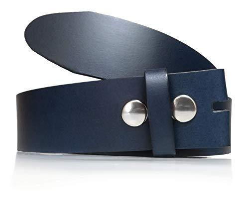 Cinturón hombre y mujer sin hebilla - Hebillas intercambiables - 3,5 cm y 4 cm - Piel legitima - 35mm y 40mm - Cuero - Broches a presión. (Azul Marino (40mm), 85)