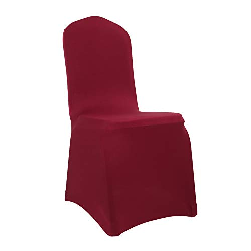 Spandex Dining Chair Cover Covers for Wedding Banquet (Burgundy)