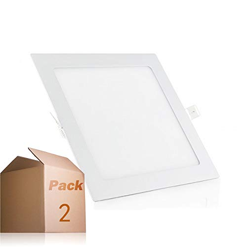 Placa LED Cuadrada 20W Panel Super slim (Pack 2) Blanco Frío 6000k-6500k...